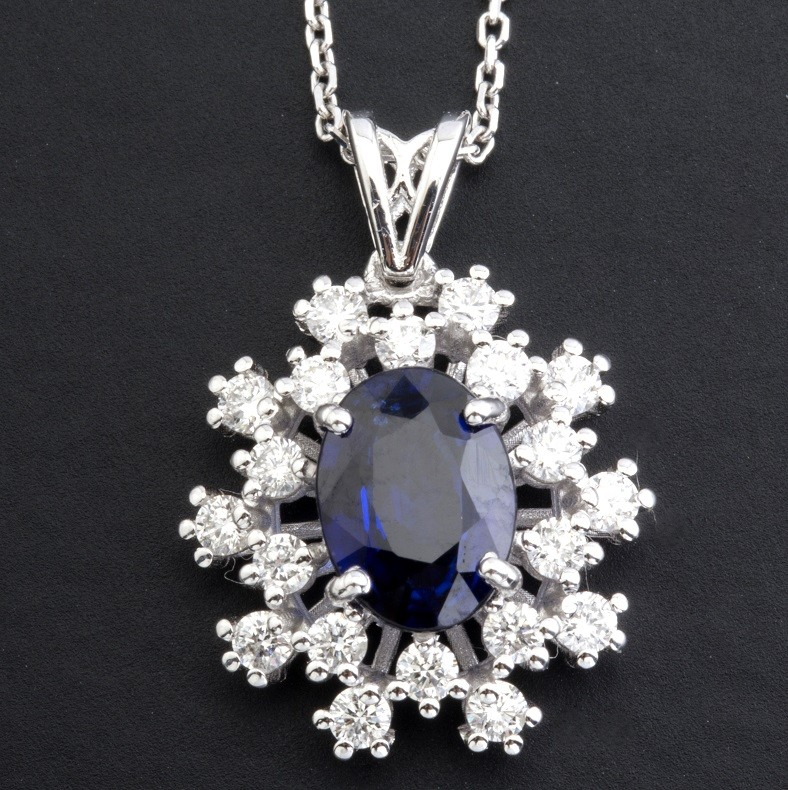 18K White Gold Sapphire Cluster Pendant Necklace Total 1.77 Ct. - Image 4 of 9
