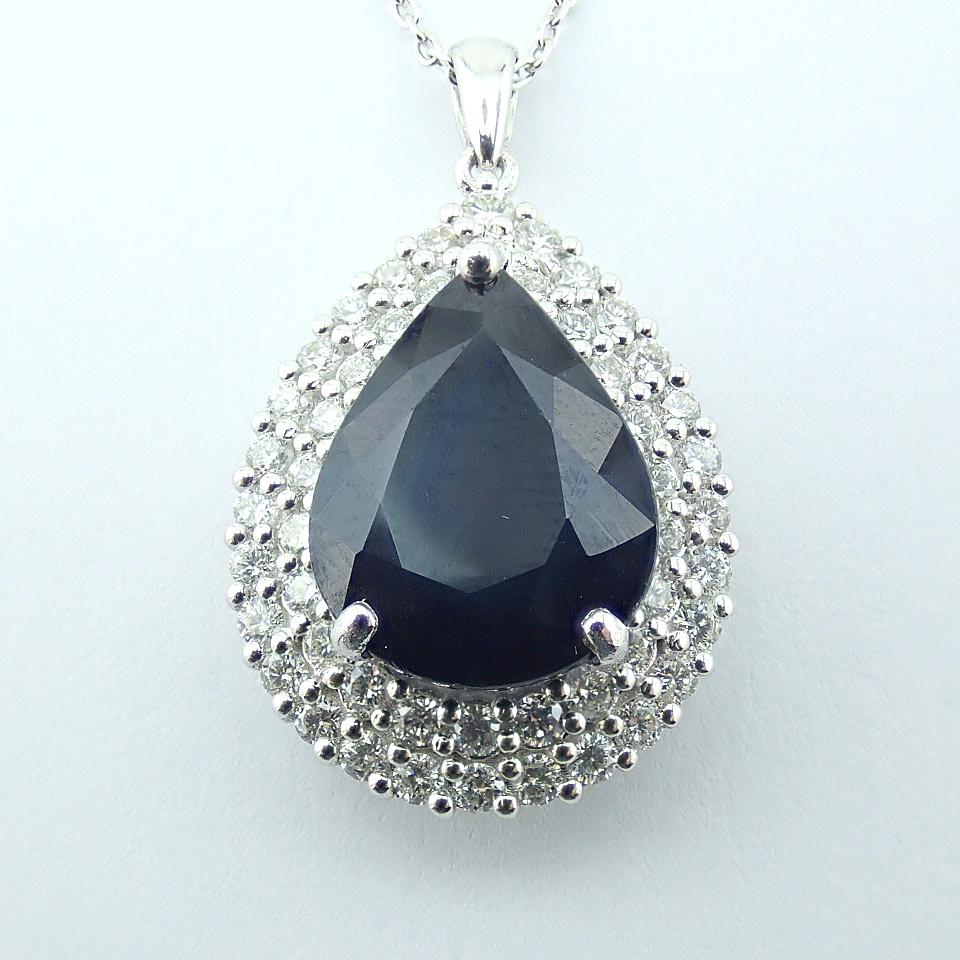 14K White Gold Diamond & Emerald Necklace - Image 3 of 14