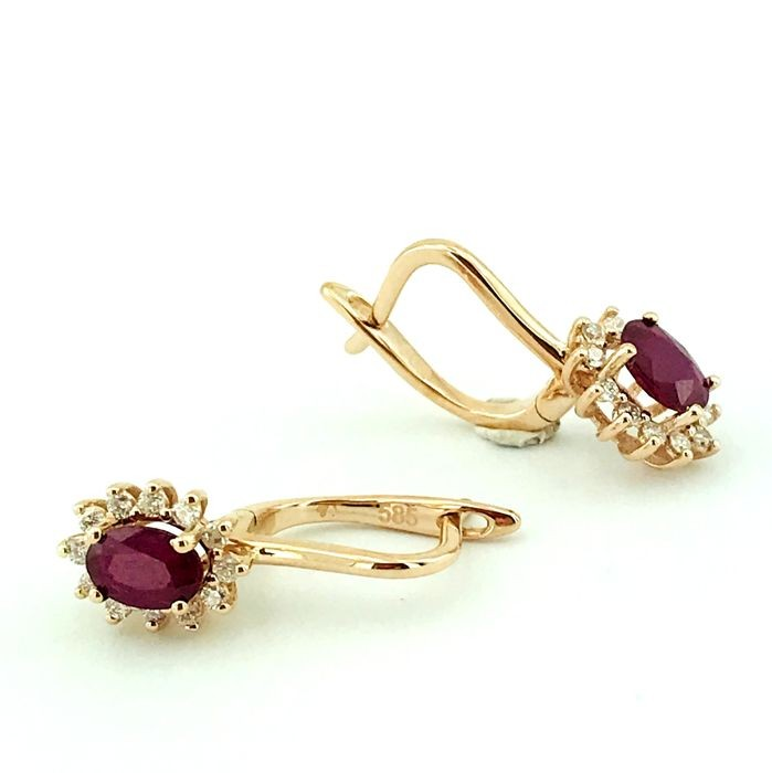 14K Pink Gold Cluster Earring , Natural Ruby and Diamond - Image 4 of 7