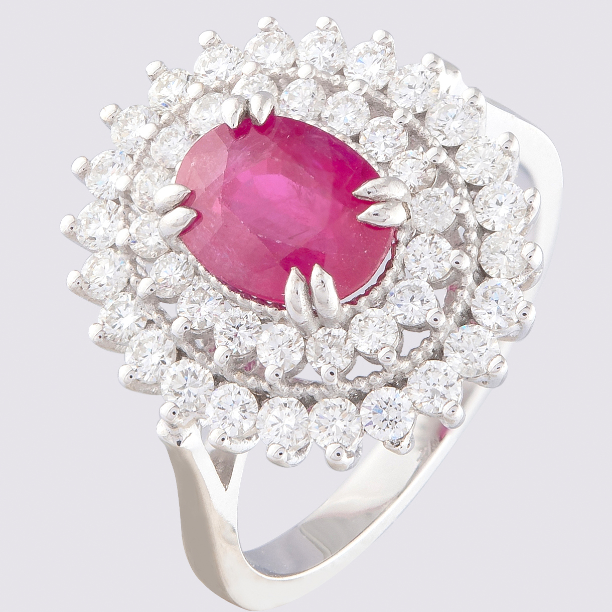 14K White Gold Cluster Ring 1.90 Ct. Natural Ruby - 1.00 Ct. Diamond