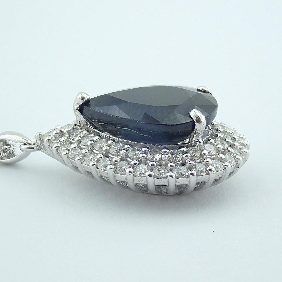 14K White Gold Diamond & Emerald Necklace - Image 10 of 14