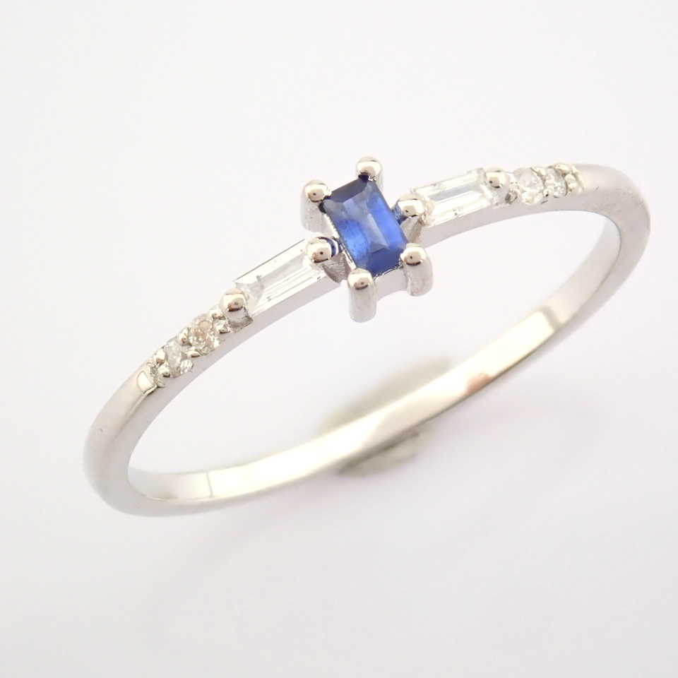 14K White Gold Diamond & Sapphire Ring - Image 3 of 10