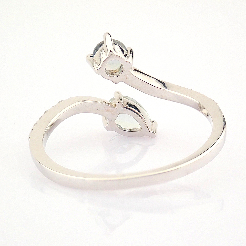 14K White Gold Diamond & Tourmaline Ring - Image 5 of 6