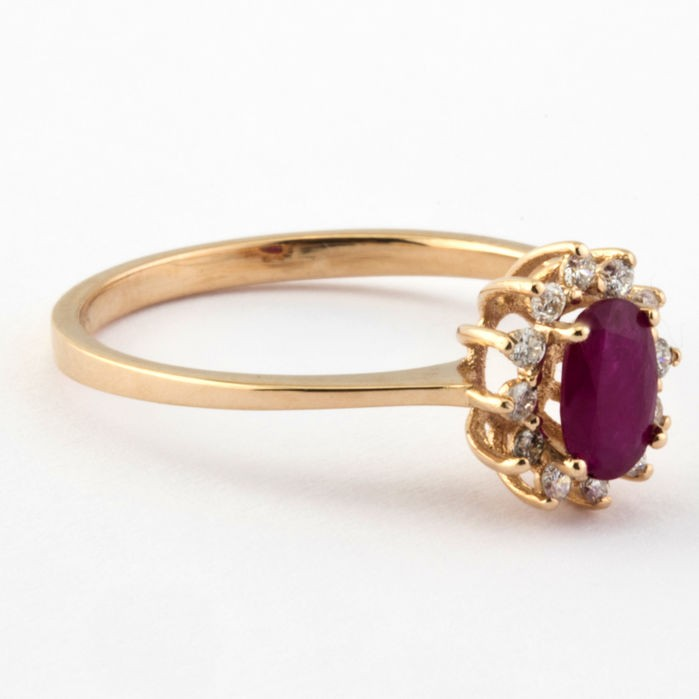 14K Pink Gold Cluster Ring , Natural Ruby and Diamond - Image 5 of 6