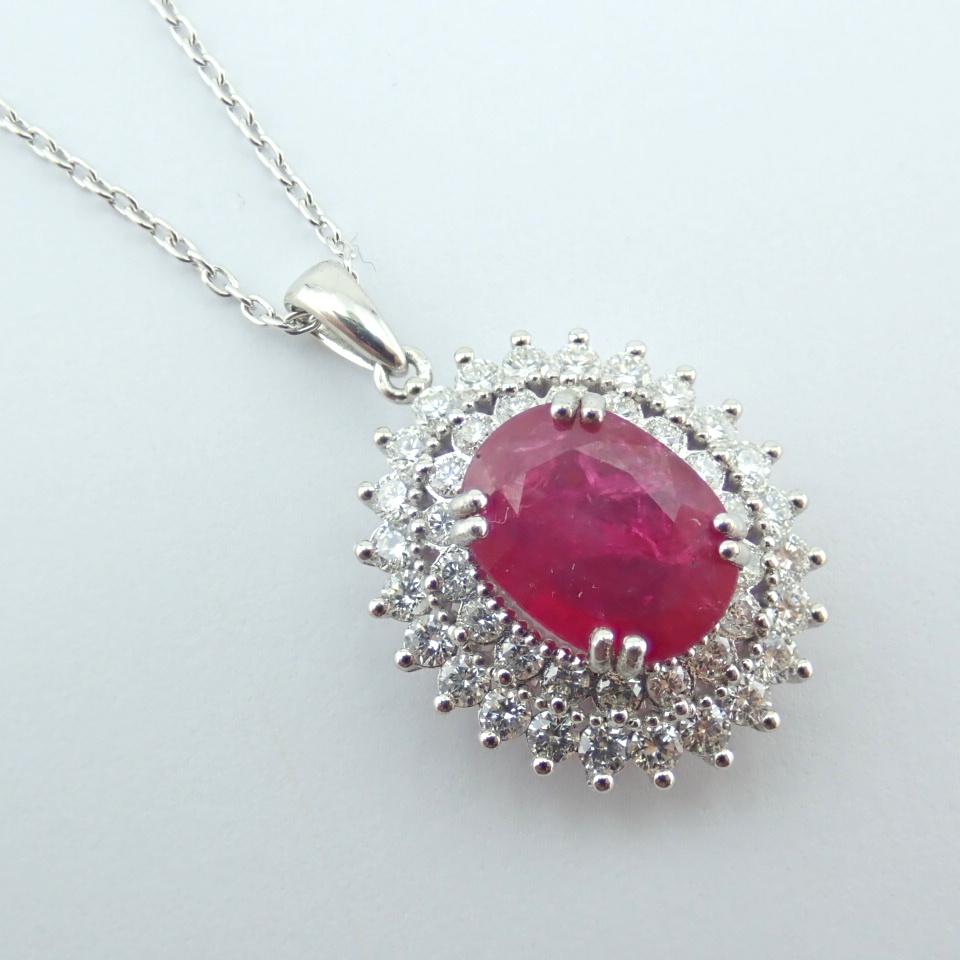 14K White Gold Diamond & Ruby Necklace - Image 7 of 11