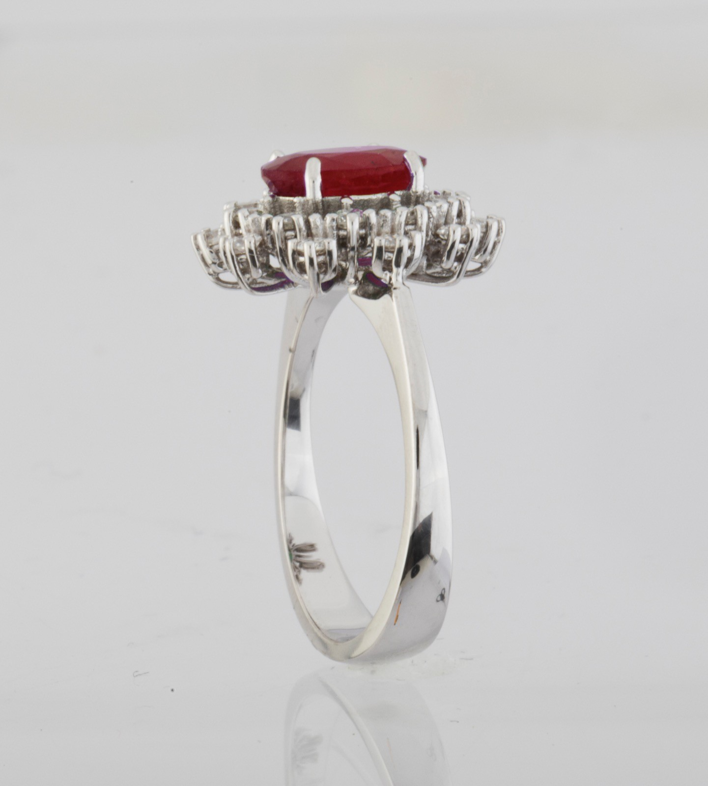 18K White Gold Ruby Cluster Ring Total 1.45 Ct. - Image 4 of 4