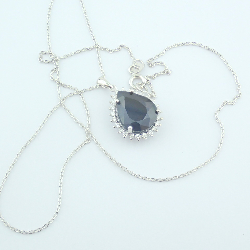 14K White Gold Diamond & Sapphire Necklace - Image 6 of 13