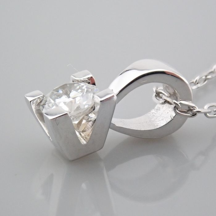 18 kt. White gold - Necklace with pendant - 0.18 Ct. Diamond - Image 6 of 7