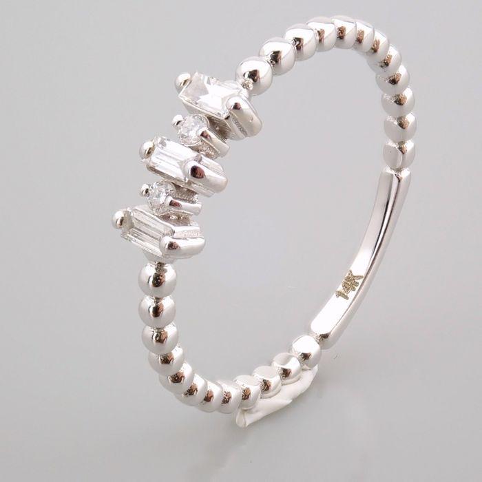 14 kt. White gold - Ring - 0.12 Ct. Diamond - Image 5 of 13