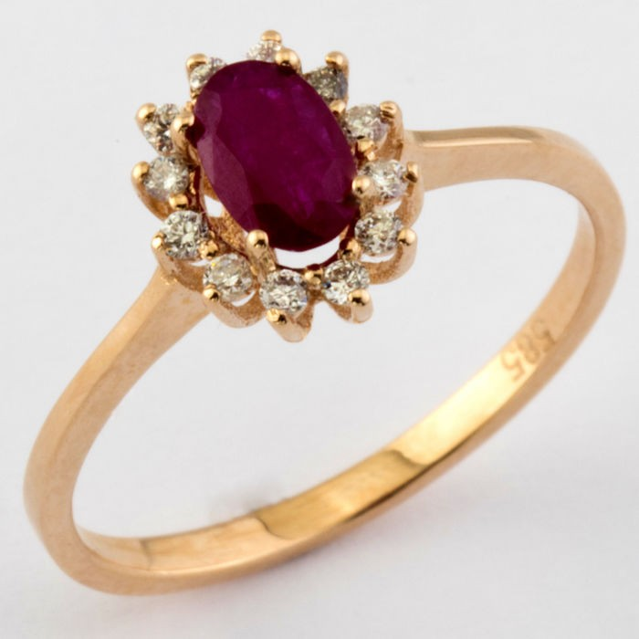 14K Pink Gold Cluster Ring , Natural Ruby and Diamond