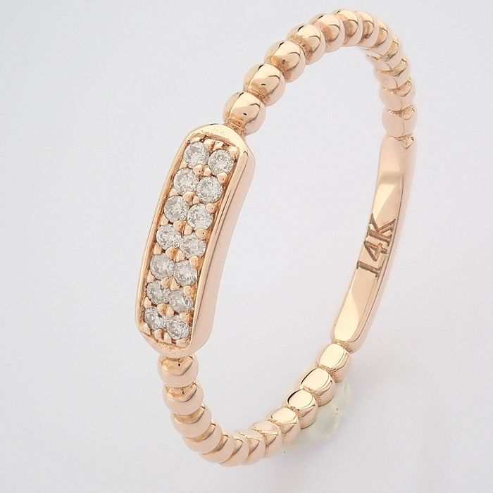 14 kt. Pink gold - Ring - 0.07 Ct. Diamond - Image 2 of 8
