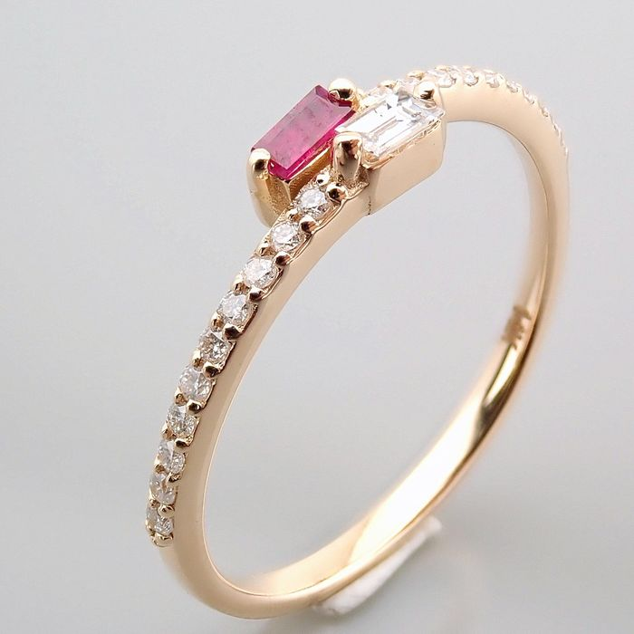 14 kt. Yellow gold - Ring - 0.14 Ct. Diamond - Ruby - Image 8 of 14