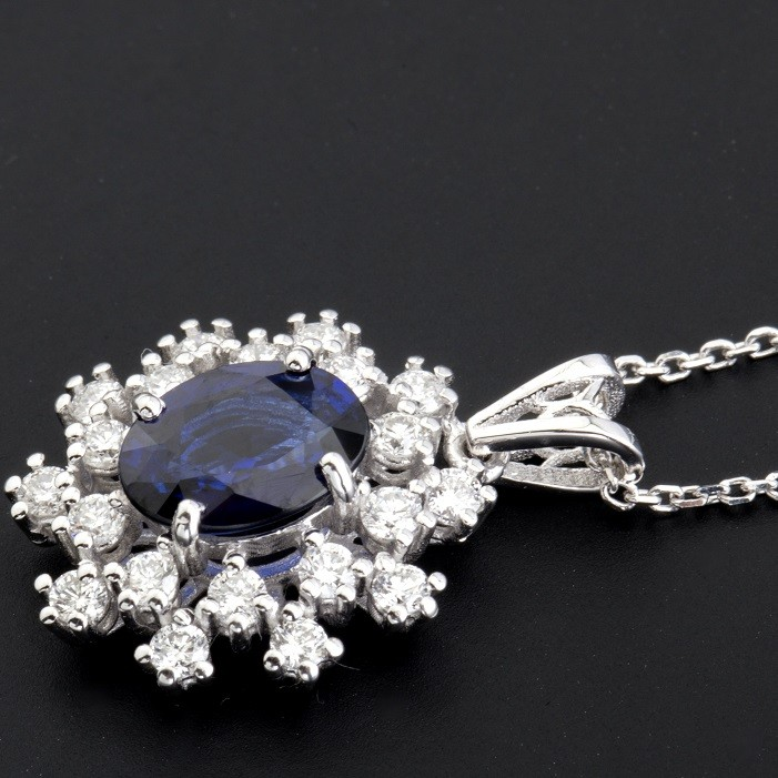 18K White Gold Sapphire Cluster Pendant Necklace Total 1.77 Ct. - Image 3 of 9