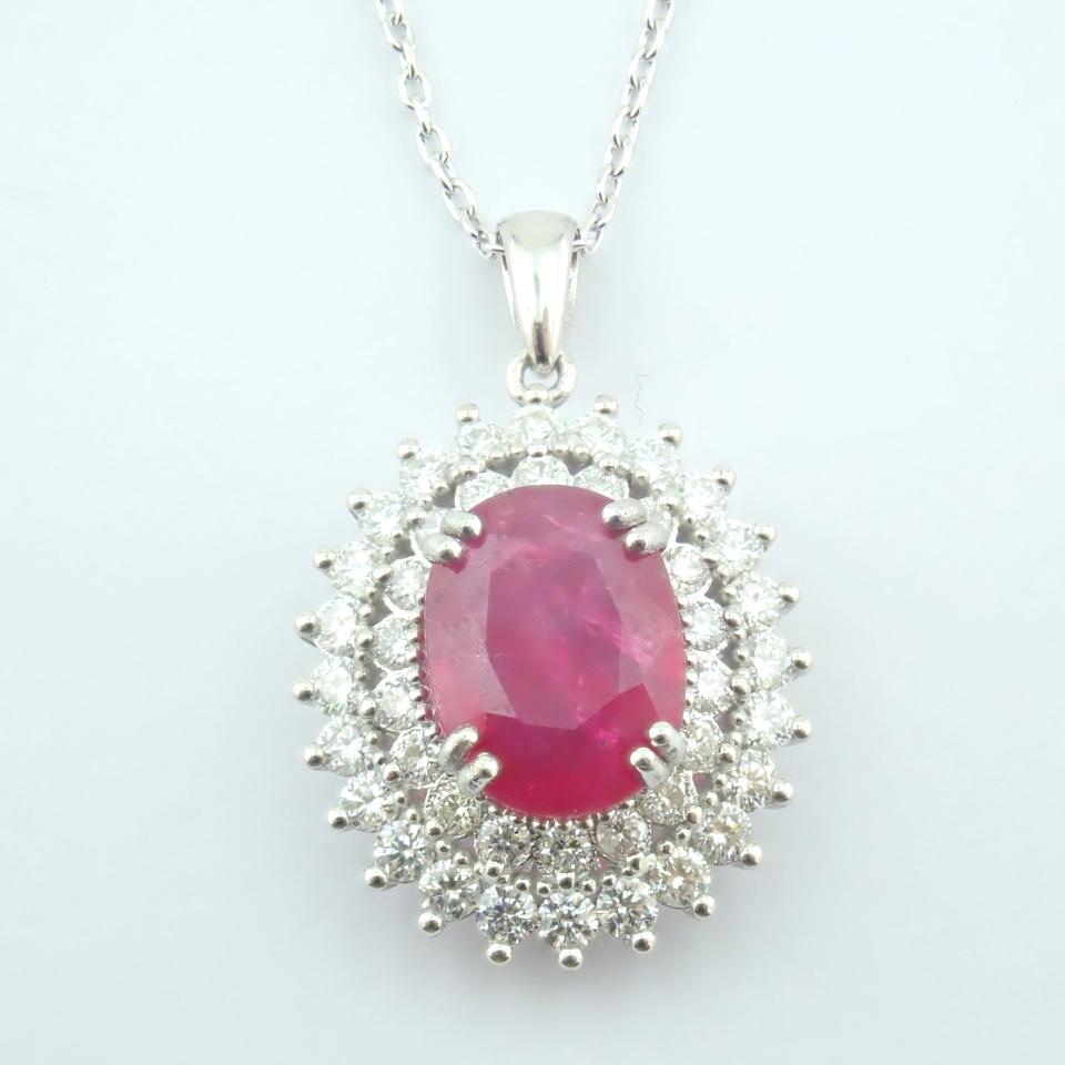 14K White Gold Diamond & Ruby Necklace - Image 8 of 11