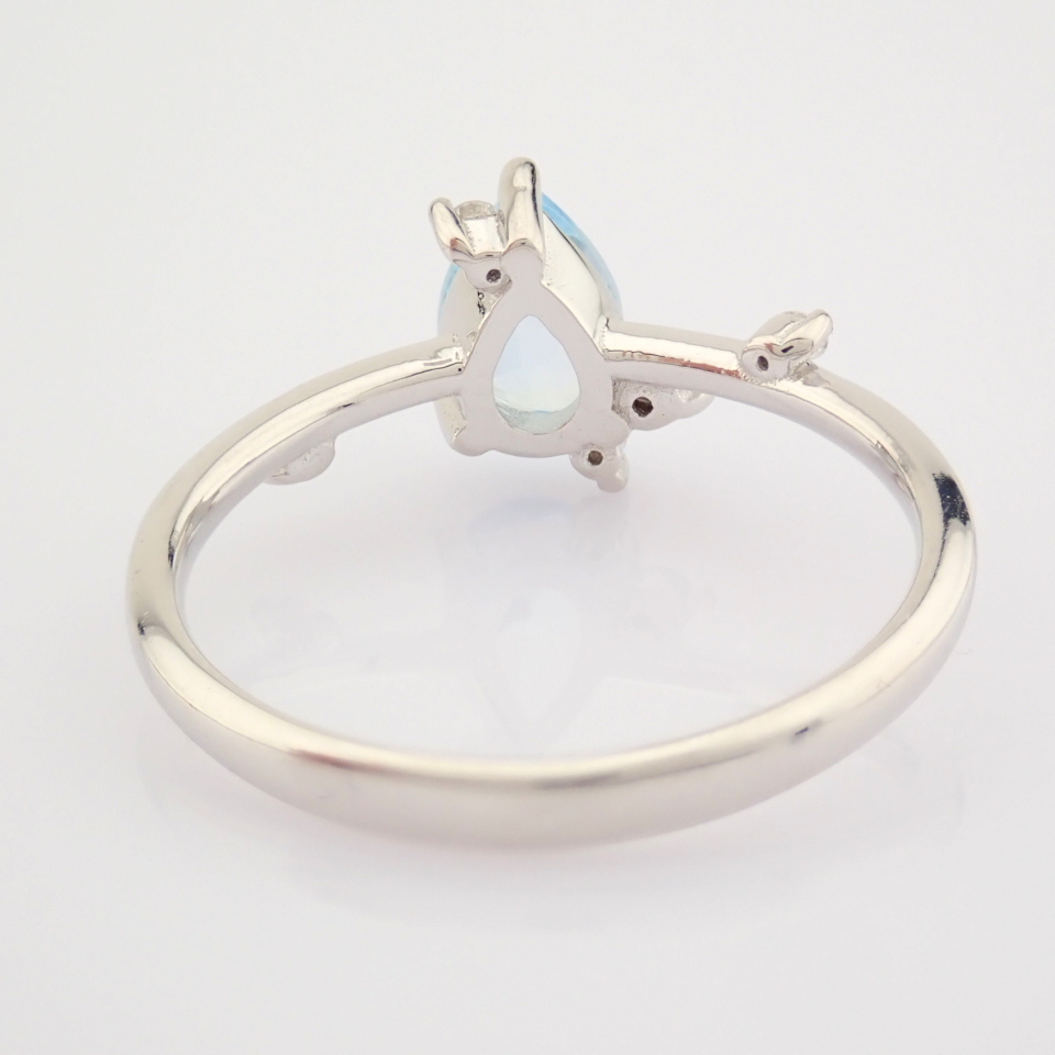 14K White Gold Diamond & Swiss Blue Topaz Ring - Image 11 of 12