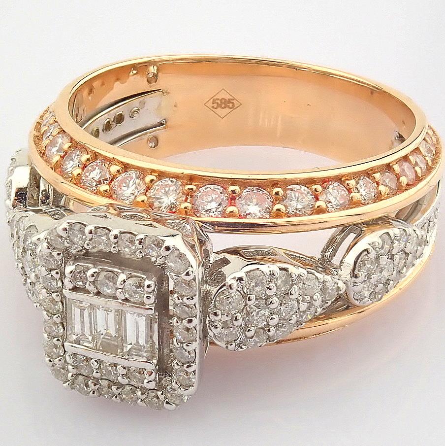 14K White and Rose Gold Diamond Ring - Image 6 of 8