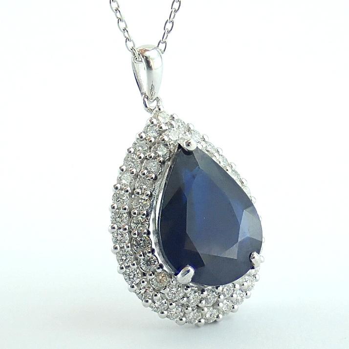 14K White Gold Diamond & Emerald Necklace - Image 8 of 14