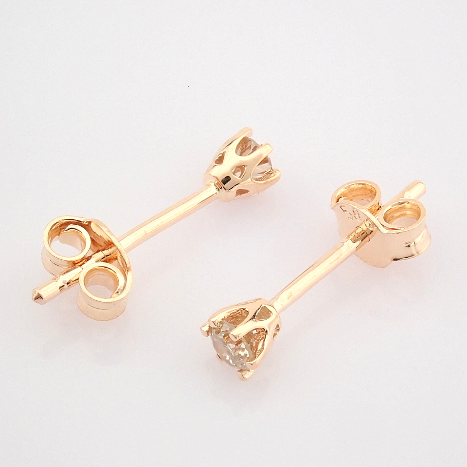14 Rose/Pink Gold Diamond Solitaire Earring - Image 4 of 8