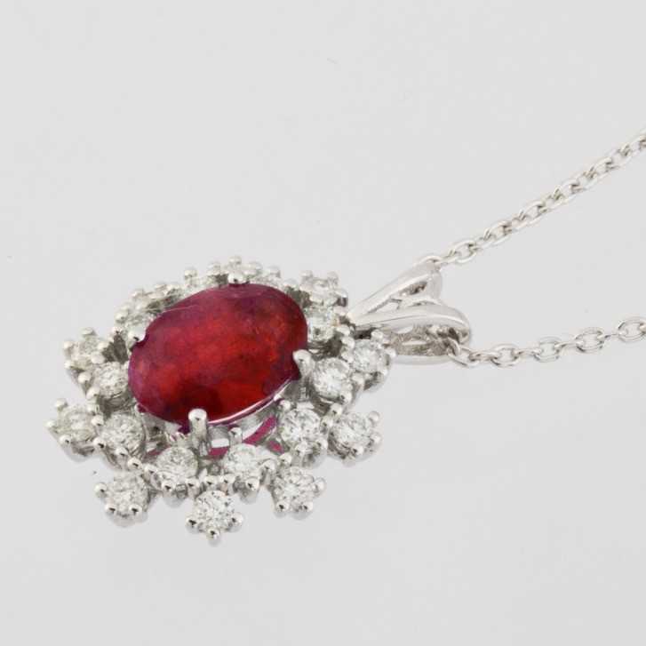 18K White Gold Ruby Cluster Pendant Necklace Total 1.77 Ct.