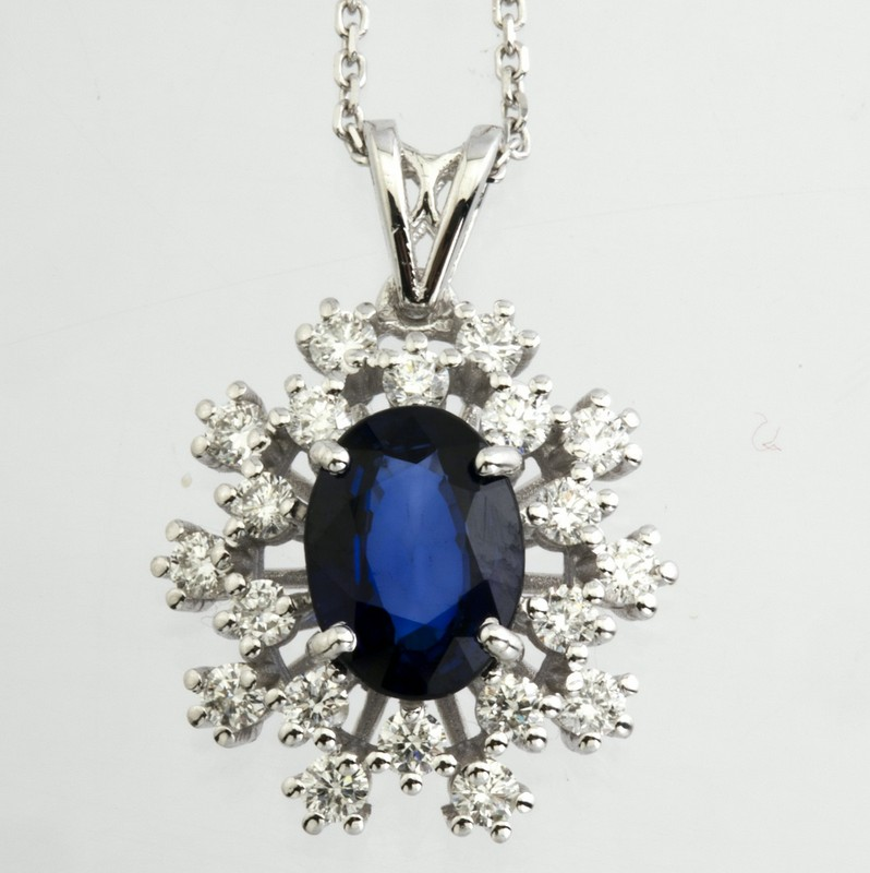 18K White Gold Sapphire Cluster Pendant Necklace Total 1.77 Ct. - Image 5 of 9