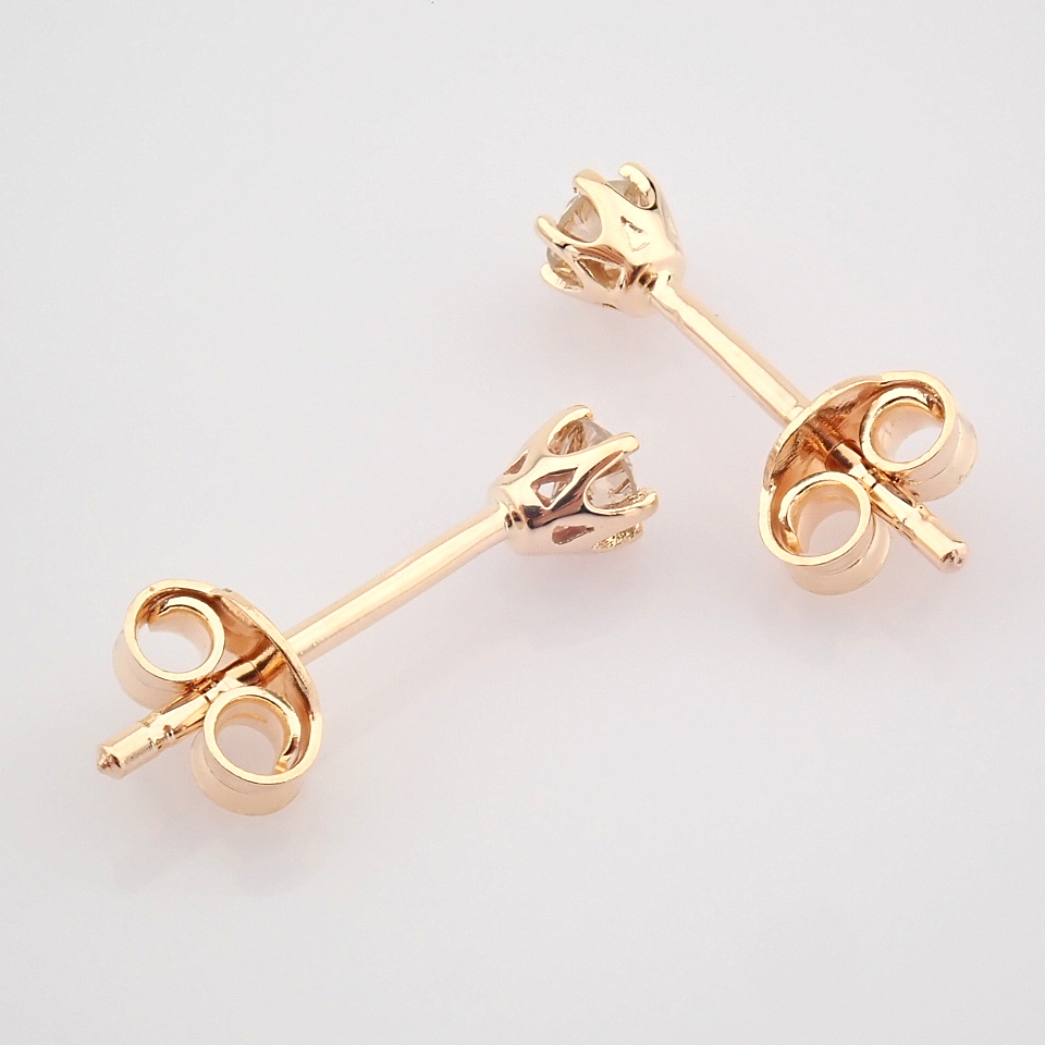 14 Rose/Pink Gold Diamond Solitaire Earring - Image 7 of 8