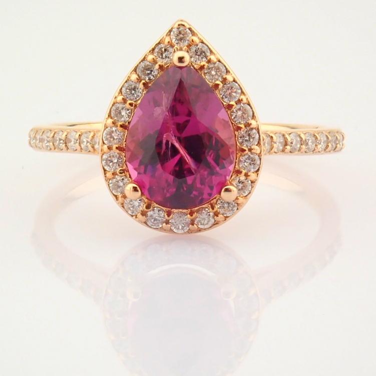 14K Yellow and Rose Gold Diamond & Rodalite Ring