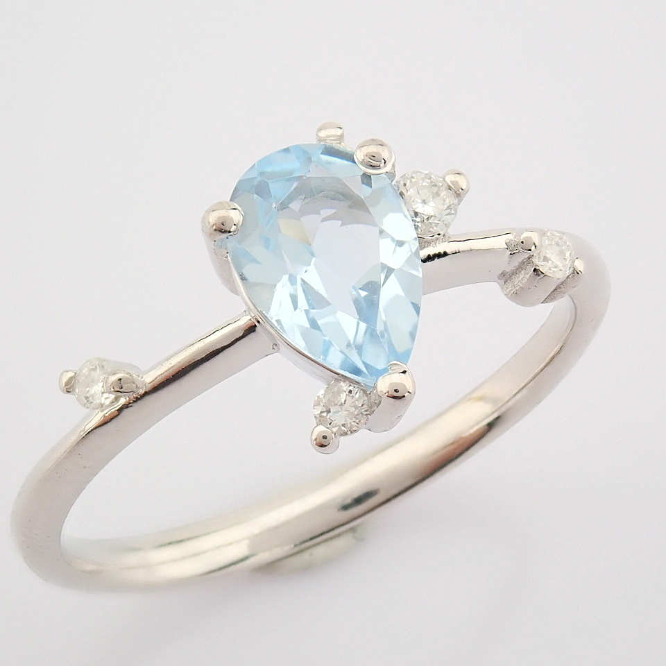14K White Gold Diamond & Swiss Blue Topaz Ring - Image 5 of 12