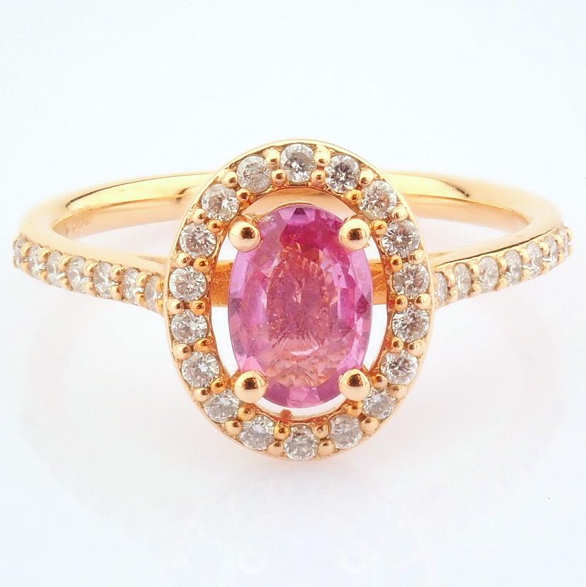 14K Rose/Pink Gold Diamond & Pink Sapphire Ring