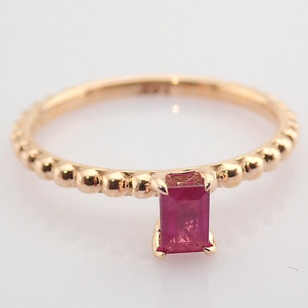14 kt. Pink gold - Ring - 0.24 Ct. Ruby - Image 8 of 8