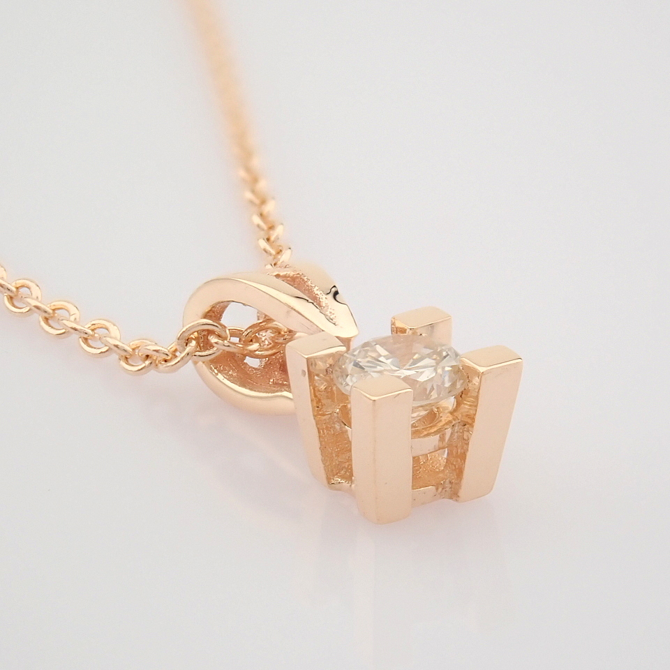 14K Rose/Pink Gold Diamond Solitaire Necklace - Image 2 of 7