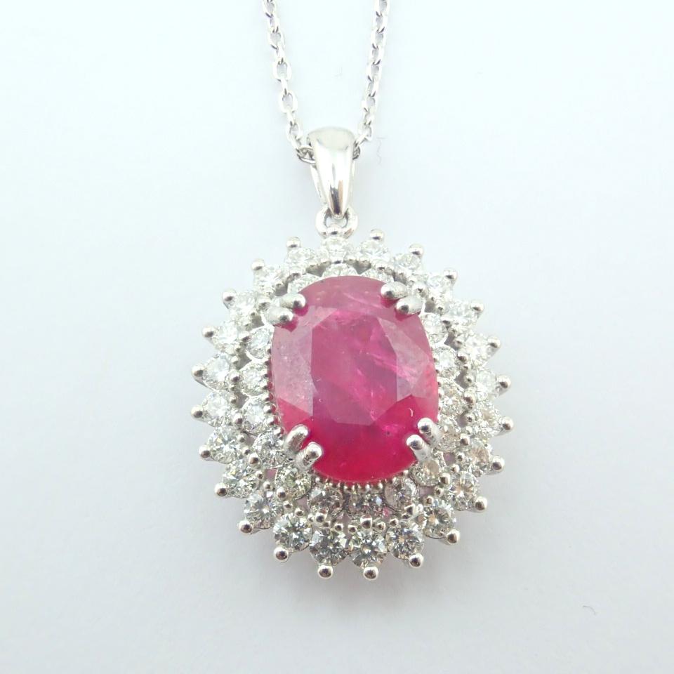 14K White Gold Diamond & Ruby Necklace - Image 5 of 11