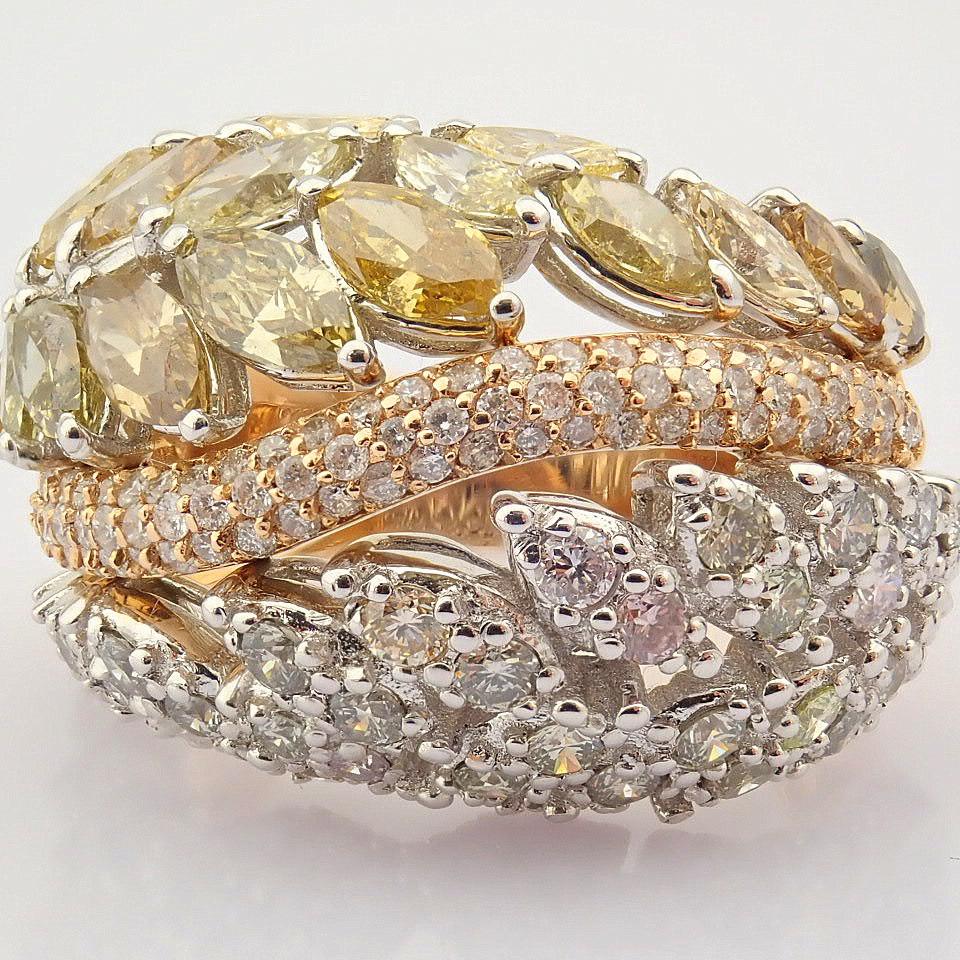 18K Rose Gold Ring- Total 4,31 Ct. Diamond - Image 8 of 8
