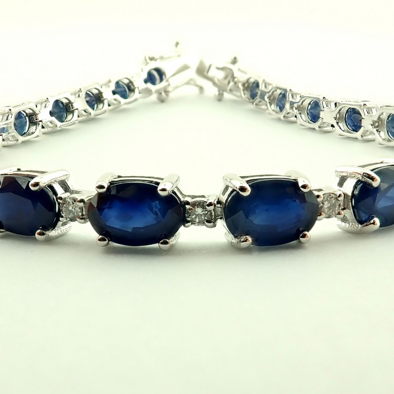 14K Diamond & Sapphire Bracelet 13,74 Ct. Total - Image 5 of 6