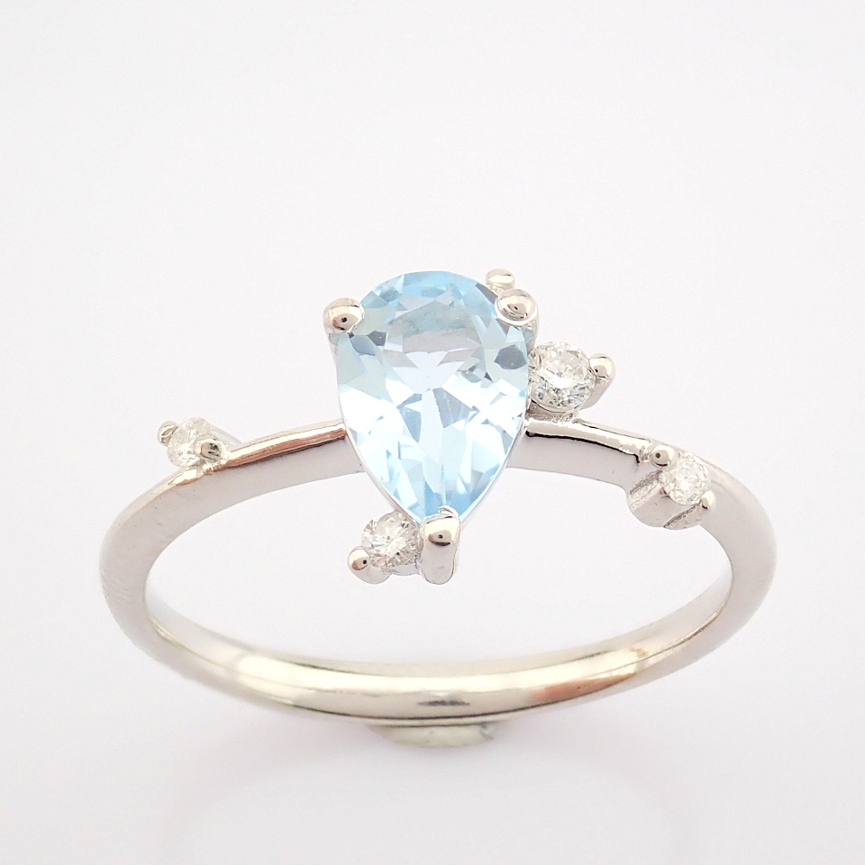 14K White Gold Diamond & Swiss Blue Topaz Ring - Image 3 of 12