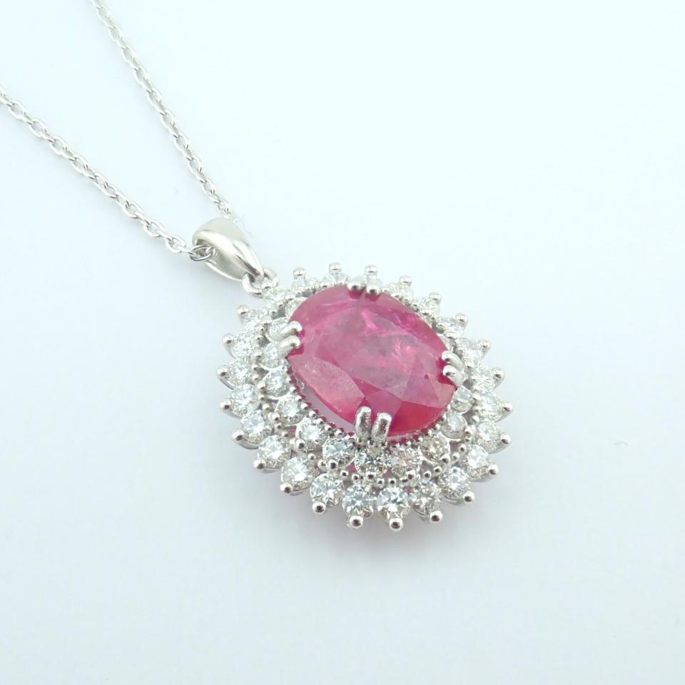 14K White Gold Diamond & Ruby Necklace