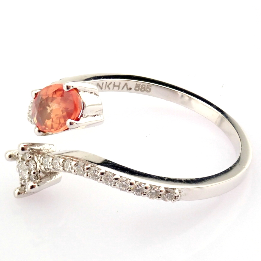 14K White Gold Diamond & Pink Sapphire Ring - Image 2 of 7