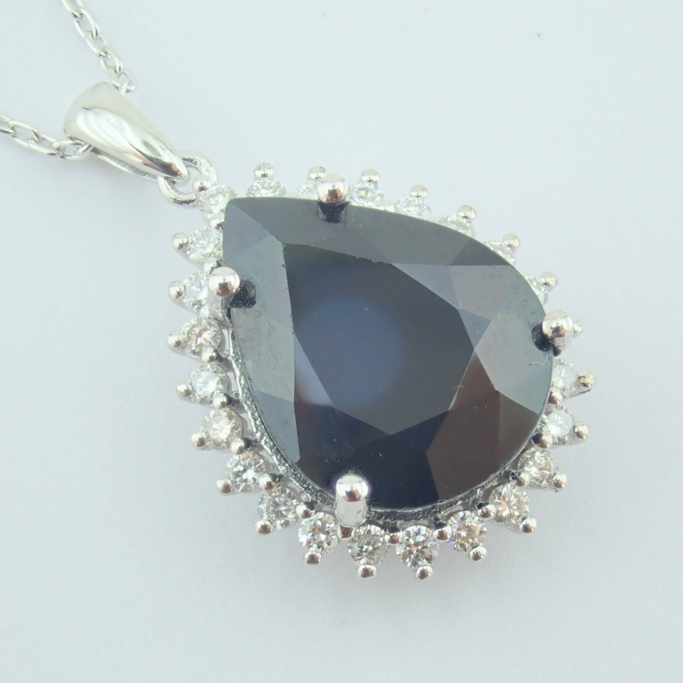 14K White Gold Diamond & Sapphire Necklace - Image 4 of 13