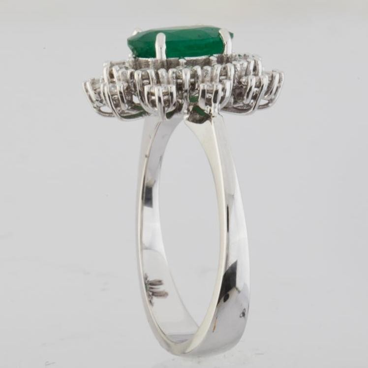 18K White Gold Emerald Cluster Ring Total 1.45 Ct. - Image 2 of 4