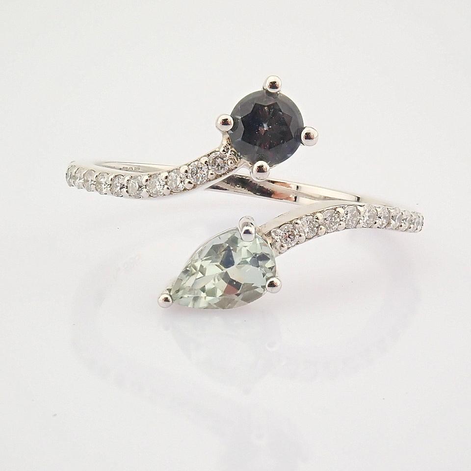 14K White Gold Diamond & Tourmaline Ring - Image 3 of 6