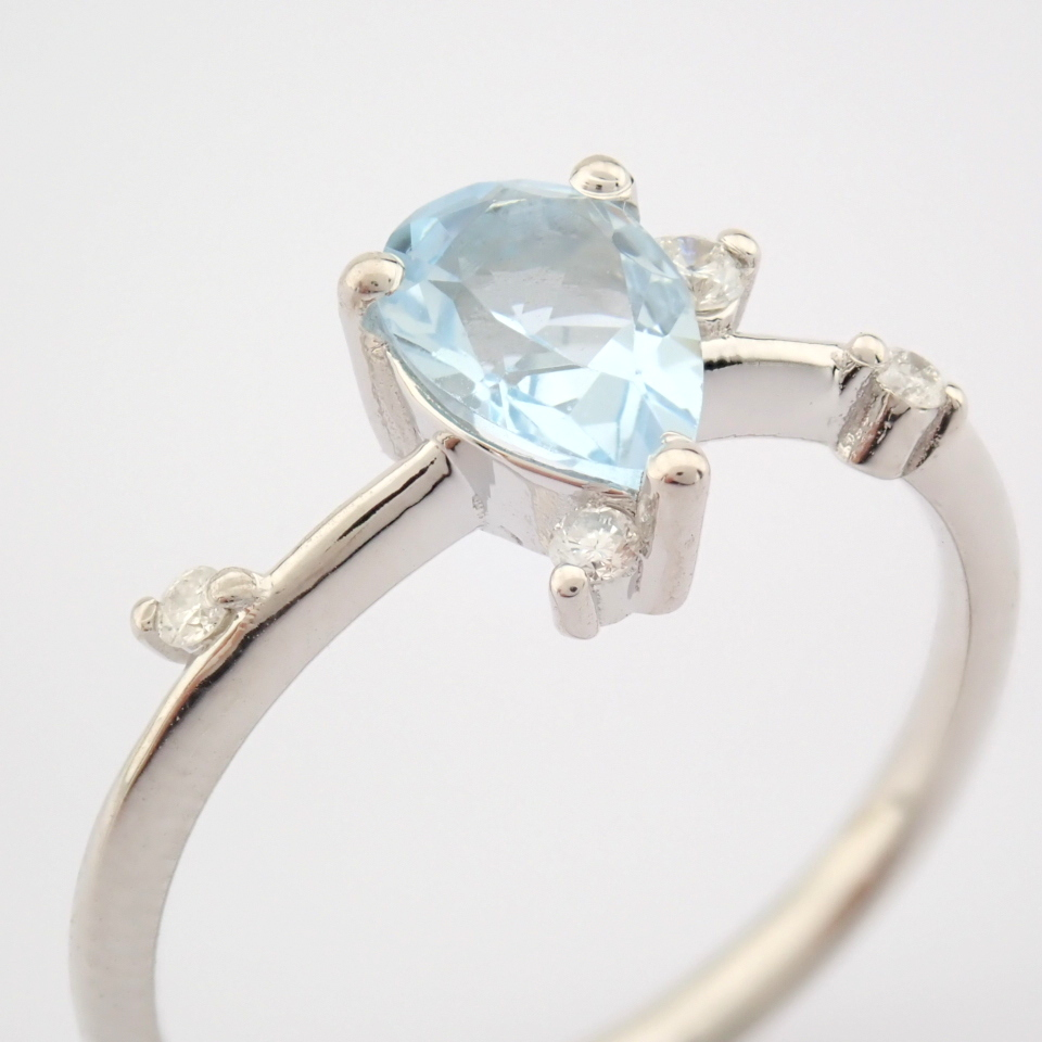 14K White Gold Diamond & Swiss Blue Topaz Ring - Image 4 of 12