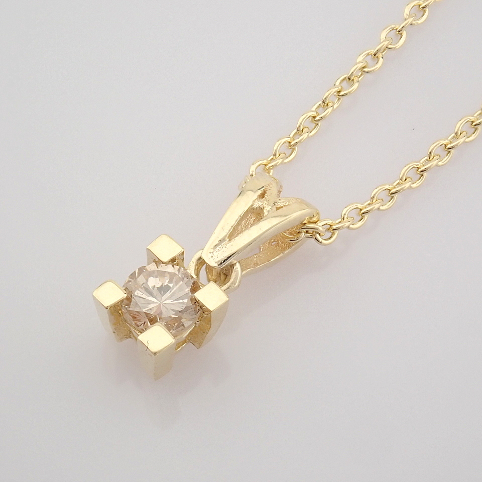 14K Yellow Gold Diamond Solitaire Necklace - Image 5 of 8