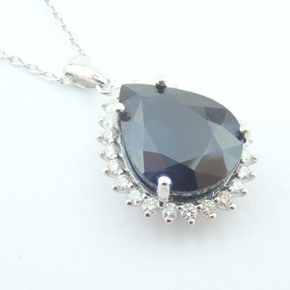 14K White Gold Diamond & Sapphire Necklace - Image 3 of 13