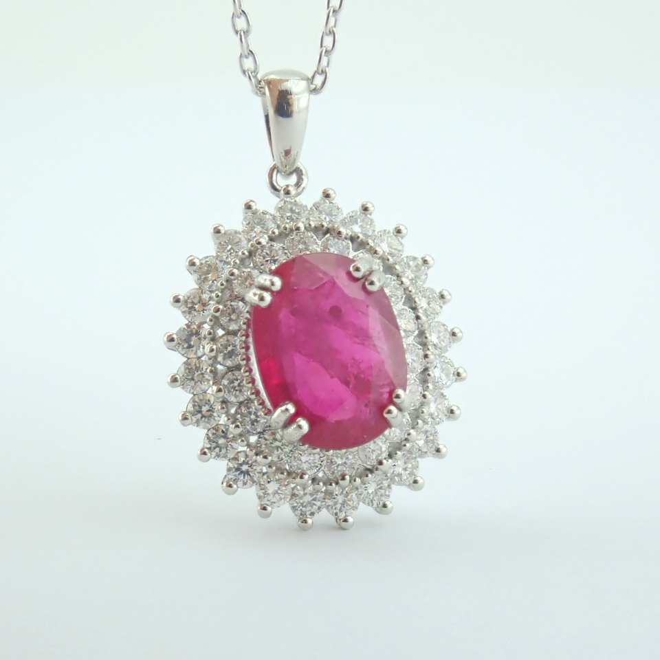 14K White Gold Diamond & Ruby Necklace - Image 10 of 11