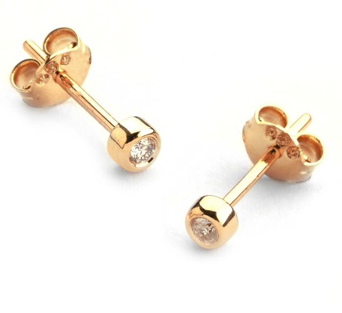 14K Rose Gold - Diamond Earring and Pendant set Total 0,30 Ct. - Image 5 of 7