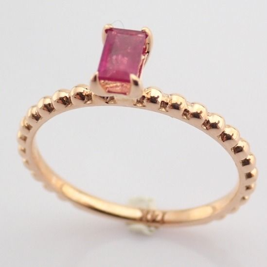 14 kt. Pink gold - Ring - 0.24 Ct. Ruby - Image 2 of 8