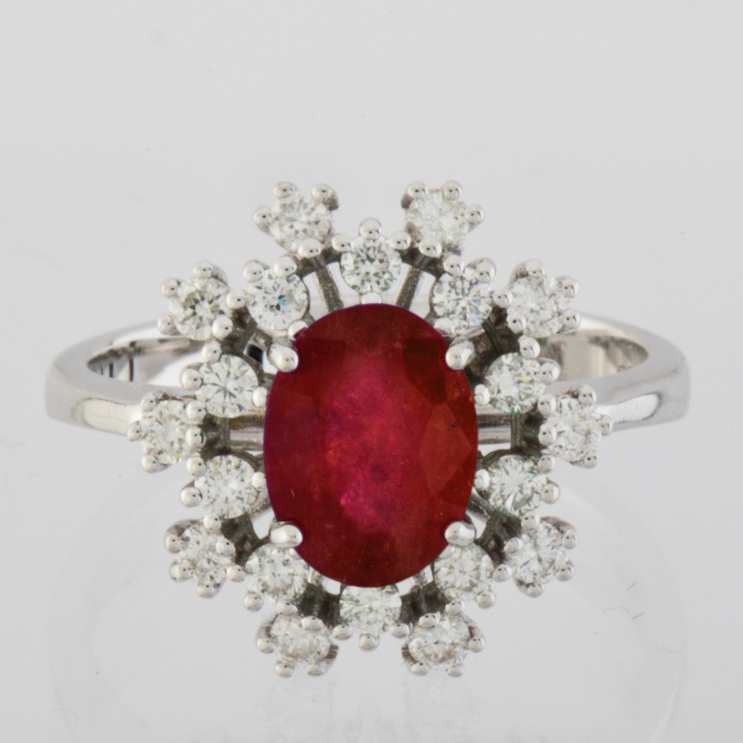 18K White Gold Ruby Cluster Ring Total 1.45 Ct. - Image 3 of 4
