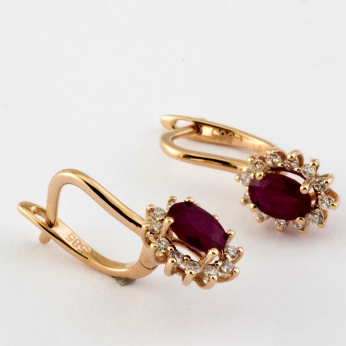 14K Pink Gold Cluster Earring , Natural Ruby and Diamond - Image 5 of 7