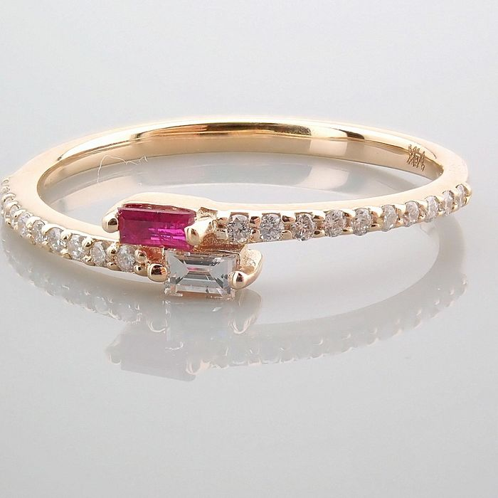 14 kt. Yellow gold - Ring - 0.14 Ct. Diamond - Ruby - Image 12 of 14