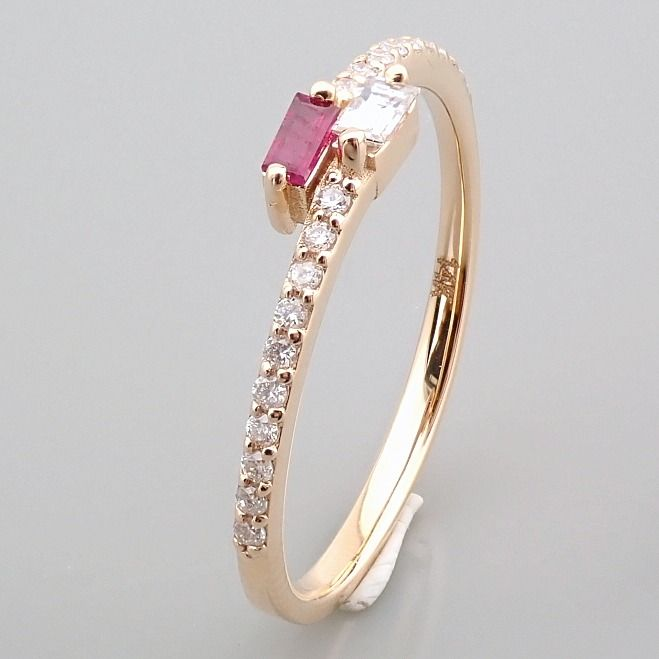 14 kt. Yellow gold - Ring - 0.14 Ct. Diamond - Ruby - Image 3 of 14