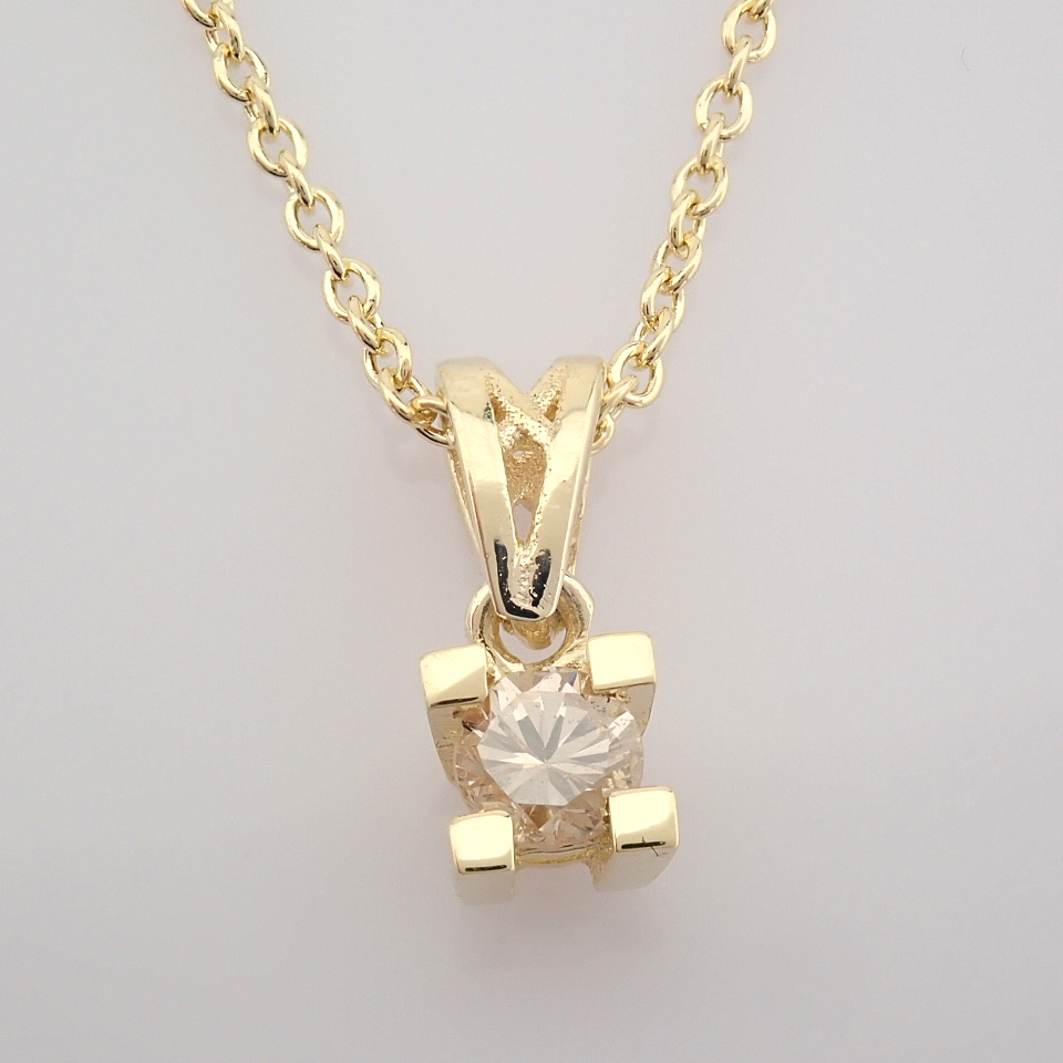 14K Yellow Gold Diamond Solitaire Necklace - Image 3 of 8